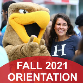 Humber mascot and humber student with fall orientation announcement